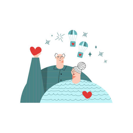 Charity volunteering concept. Active seniors volunteers. Elderly man and woman with hearts. Support and care for people. Trendy flat vector illustration with character isolated on white background