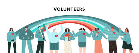 Volunteers community concept. Group of diverse people volunteers. Rainbow as symbol of hope, help, charity and support. Teamwork, network and unity. Flat vector cartoon illustration isolated on white 벡터 (일러스트)