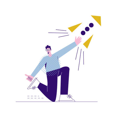 Male programmer, coder starts the program. Software development. A young guy launches a rocket into space. Project manager. Flat vector cartoon illustration with character isolated on white background