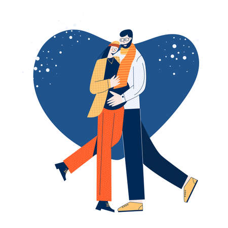Winter Christmas pregnant family. Hug portraits of men and women in love hugging and cuddling. Valentines card. Man embracing woman. Cute young trendy romantic couple. Flat vector illustration