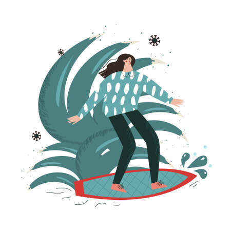 Second and third wave of the pandemic. Surfer girl among the coronavirus. Mental health well-being concept flat vector illustration in cartoon style isolated on white for posters, design