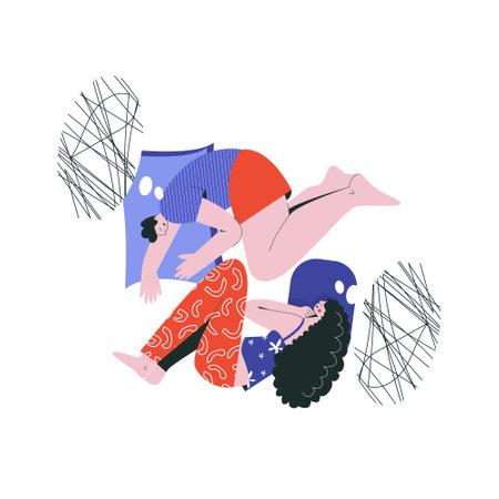 Bad night sleep concept. Sleeping discomfort, insomnia, nightmire, disturbed. Couple in bedroom, partners night terrors. Adult thoughts in dream, thinking about relationship flat vector illustration Vektoros illusztráció
