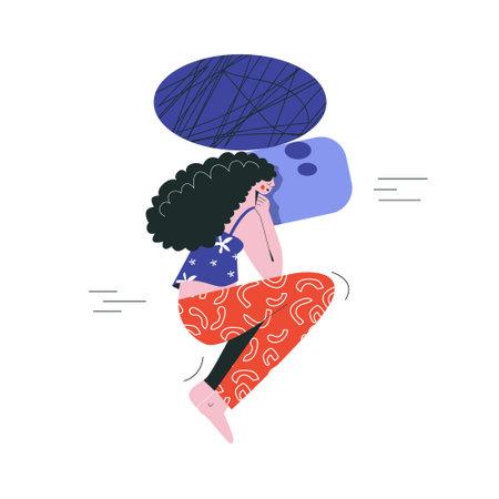 Bad night sleep concept. Sleeping discomfort, insomnia, nightmire, disturbed. Woman awake in stress. Night terrors. Girl thoughts in a dream, thinking about work flat vector illustration Vektoros illusztráció