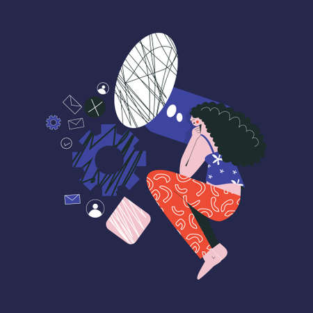 Bad night sleep concept. Sleeping discomfort, insomnia, nightmire, disturbed. Woman awake in stress, office character night. Girl thoughts in a dream, thinking about work flat vector illustration