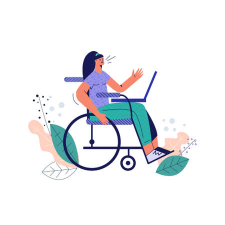 Handicapped woman in wheelchair flat vector illustration. Disabled girl with laptop, young character with disability, portrait special lady, handicap worker. Trendy drawing isolated on white