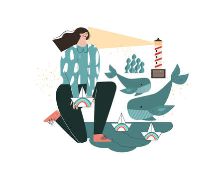 A glimmer of hope. A young girl launches paper boats with a rainbow into the water. Ocean, lighthouse, whales. A symbol of care, mental health, wellness, wellbeing. Metaphor flat vector illustration