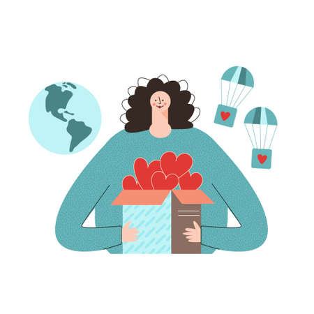 Concept of charity and donation. Virtual Volunteer Opportunities modern flat vector illustration. Young girl hold a box of hearts in her hands. Caring for community, help and supportive via pandemic Ilustração