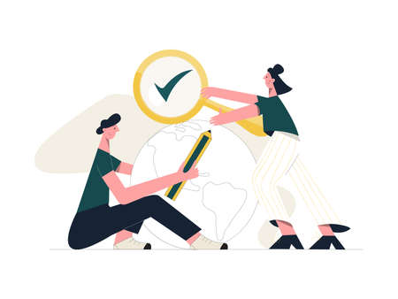 Fact check concept. Male and female characters with magnifying glass and pencil checking Earth. Flat vector illustration isolated on white