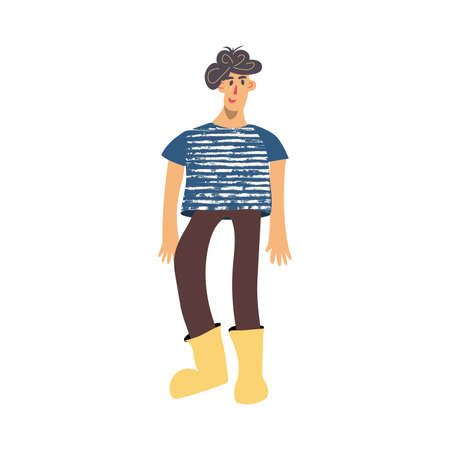 Young rustic character doodle drawing Hand drawn flat vector illustration in cartoon style isolated on white background
