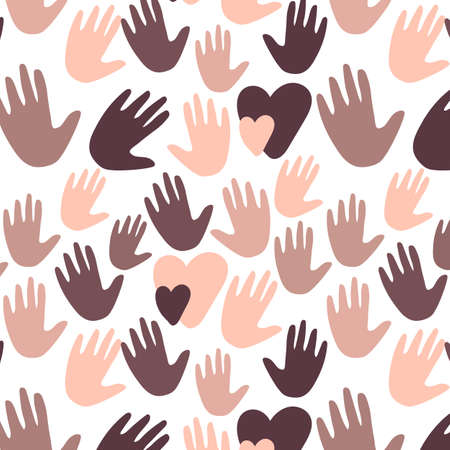 Seamless pattern with black and white hands and hearts together. Equalty concept. Hand drawn vector Illustration isolated on white background
