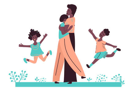 Black African American family. Father, mother, son and daughter. Couple hugs and children jump. Family vacations, outdoors. Hand drawn vector cartoon illustration isolated on white background