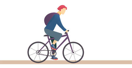 Young man with pink hair riding a bicycle. Cycling illustration isolated on white background. Guy riding bike, outdoor sports concept. Flat vector illustration Ilustrace