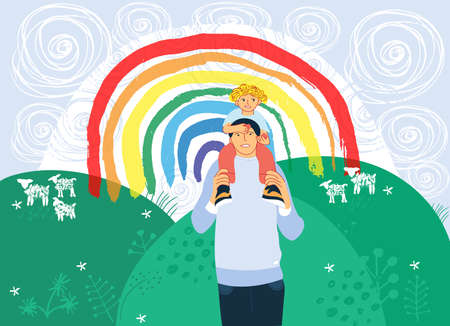The Rainbow as signs of thank you, hope and solidarity. The son sits on his father's shoulders against rainbow sky and nature. Colorful flat vector illustration