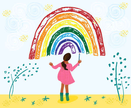 Little african american toddler girl is drawing rainbow. Kid painting rainbow on the sky. Hand drawn vector illustration