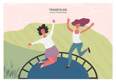 Bouncing on a trampoline. Girls having fun jumping on the trampoline. Outdoor activity 일러스트