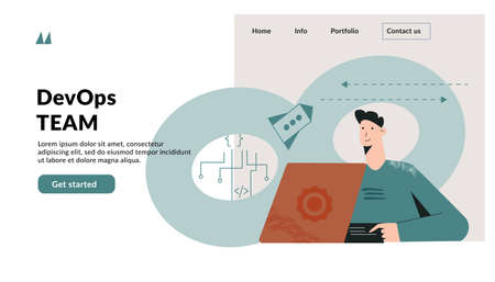 DevOps concept. Template for website. Software engineering culture and practice of development and software operation. Team building with dev ops symbol. Modern flat vector illustration