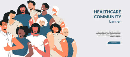 Diverse people after vaccine injection concept. Banner Lets Vaccinate, healthcare campaign. Vaccination landing page template. Multicultural team, unity in diversity. Flat vector cartoon illustration