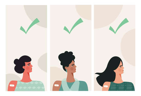 Diverse women after vaccination concept Vaccine injection in arm, shoulder. Set of multiracial female character after getting vaccine with green check. Flat vector cartoon illustration for poster