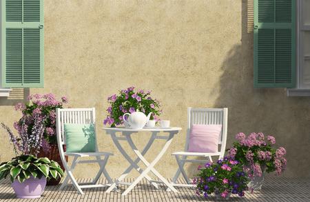 白い家具と美しいテラス 写真素材