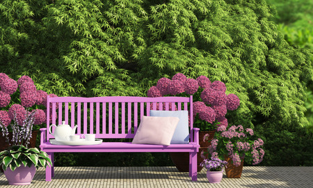 Sunny terrace in the garden