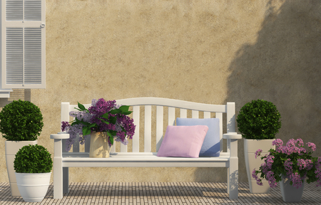 white bench and spring lilac flowers