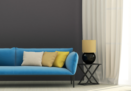 Gray interior with blue sofa and yellow cushions Stockfoto