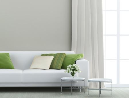 beautiful living room with white sofa