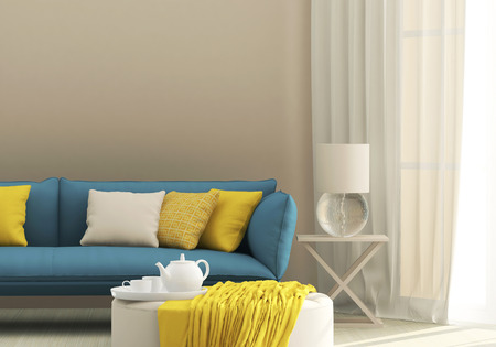 Charmant Light Interior With Blue Sofa And Yellow Cushions Stock Photo, Picture And  Royalty Free Image. Image 70409204.