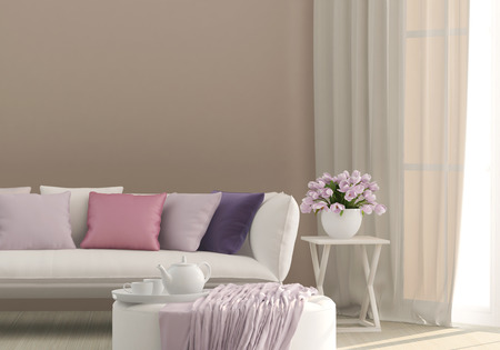 sunny living room with flowers