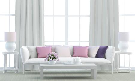 花束と白いリビング ルーム