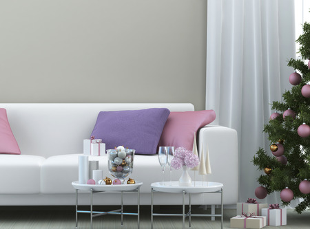 christmas composition with sofa and christmas tree