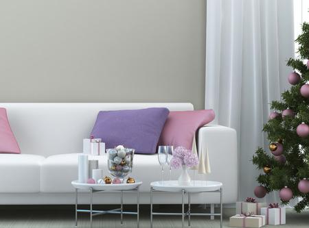christmas composition with sofa and christmas tree