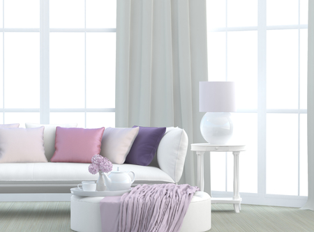 light living room with sofa