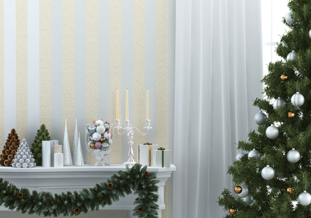 christmas composition with fireplace and christmas tree