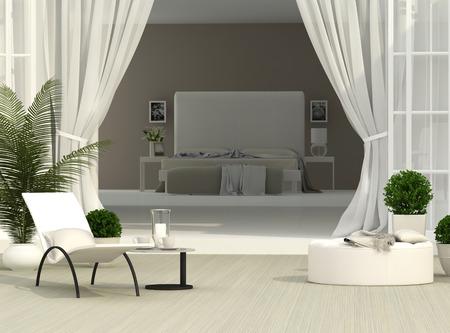 beautiful terrace and light bedroom