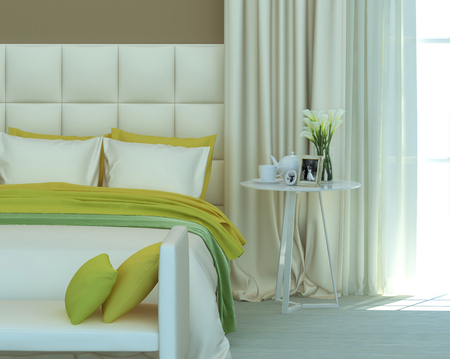 yellow and green colors in the bedroom interior. 3D rendering Stok Fotoğraf
