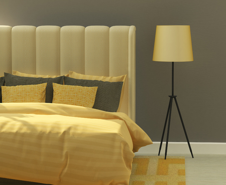 yellow and gray colors in the bedroom interior