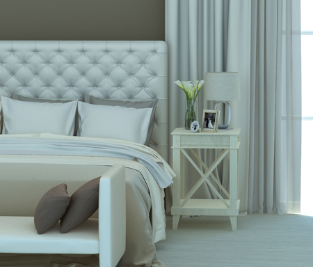 beige and white colors in the bedroom interior. 3D rendering