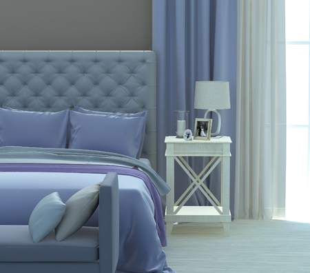 Gray and blue colors in the bedroom interior. 3D rendering