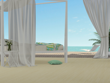 bedroom with canopy overlooking the sea Stok Fotoğraf