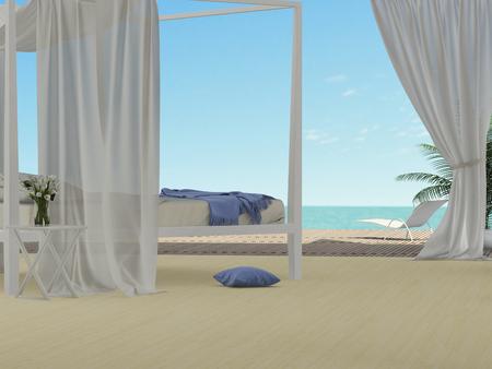 light bedroom overlooking the sea