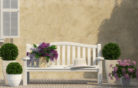 White bench, spring green flowers