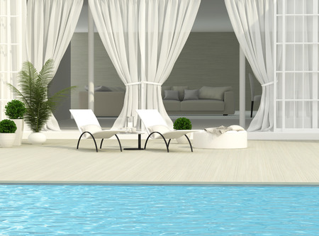 White terrace, flowers and chaise lounges