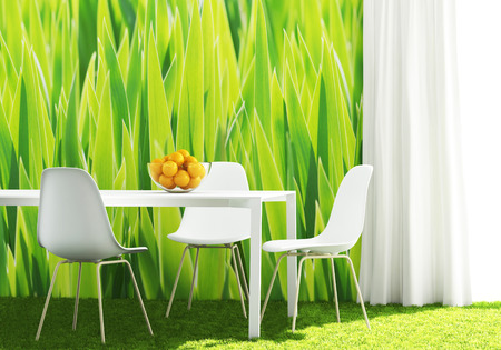 conceptual green kitchen with white furniture