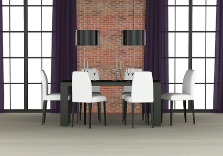 dining room interior with brick wall