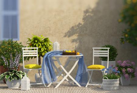 Lemon tree and lemon composition on the balcony