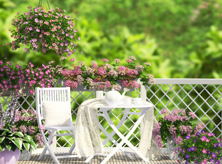 Open terrace with white furniture and flowers