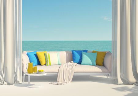 Sunny terrace, juice and lemons Standard-Bild