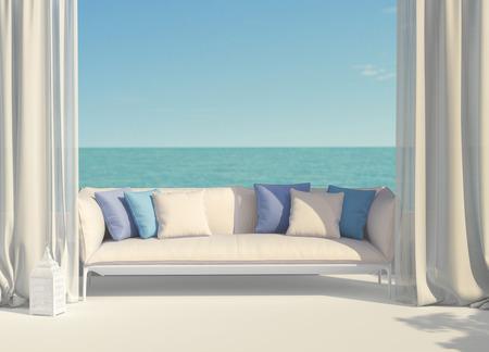 Beautiful sunny terrace overlooking the sea
