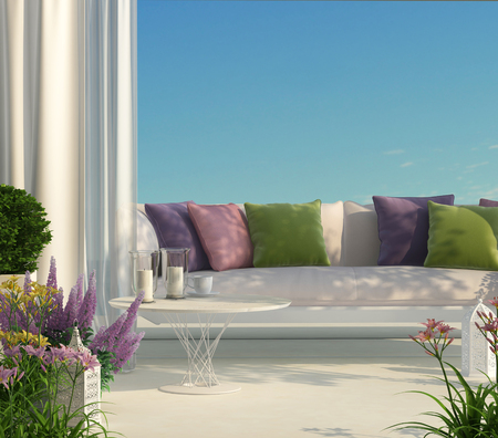 Sunny terrace, furniture and flowers